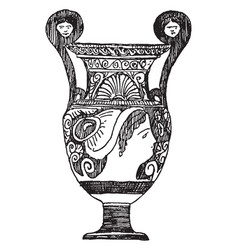 Greek vase was made in apulia vintage engraving vector