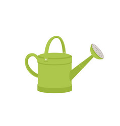 Green metal watering can or pot isolated on white vector