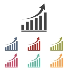 growing graph icons set vector image