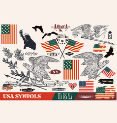 Hand drawn usa symbols in vintage style eagles vector