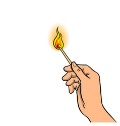 Hand with burned match pop art vector
