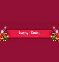 Happy diwali crackers background design vector