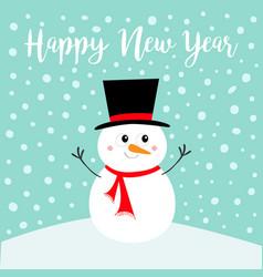 Happy new year snowman standing on snowdrift vector