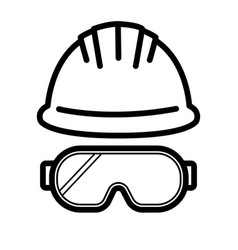 Helmet glasses outline icon industrial security vector