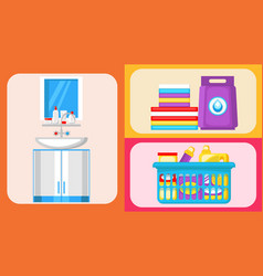house cleaning supplies flat set vector image