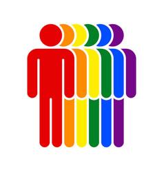 Human lgbt movement rainbow flag vector