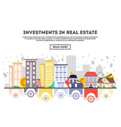 Investments in real estate concept in flat design vector