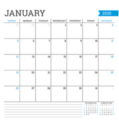 January 2020 square monthly calendar planner vector