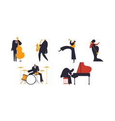 Jazz band people set on white background vector