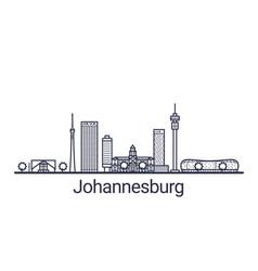 johannesburg skyline banner linear style line art vector image