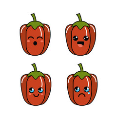 Kawaii faces pepper vegetable icon vector