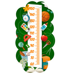 Kids height chart with school cartoon stationery vector