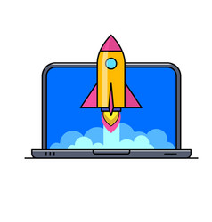 laptop with rocket flying out of screen vector image