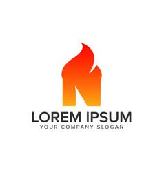 letter n ignition flame logo design concept vector image