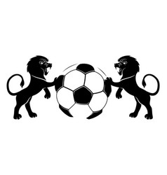 Lions and soccer ball vector