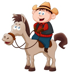Little Cowboy riding horse vector image