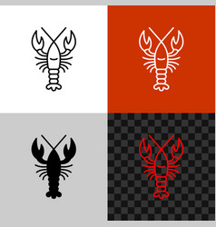 lobster icon simple line or crayfish vector image