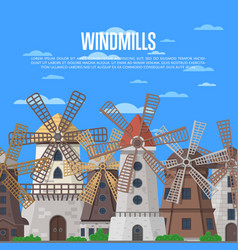 medieval windmills on blue sky background vector image