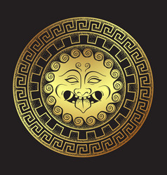 medusa gorgon golden head on a shield hand drawn vector image