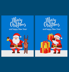 merry xmas happy new year poster santa deer box vector image