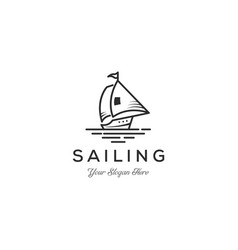 minimalist sail boat - logo template concept vector image