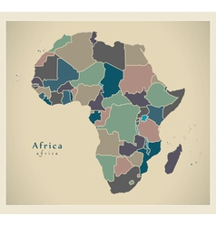 Modern map - africa continent with countries polit vector