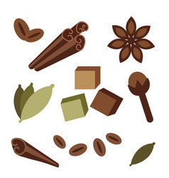 Natural organic spices icons vector