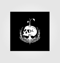 nature root and skull vintage design vector image