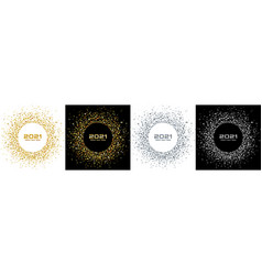 new year 2021 night party set gold greeting cards vector image