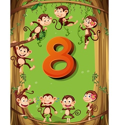 Number eight with 8 monkeys on the tree vector