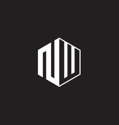 Nw logo monogram hexagon with black background vector