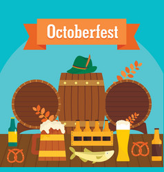 octoberfest beer banner concept flat style vector image