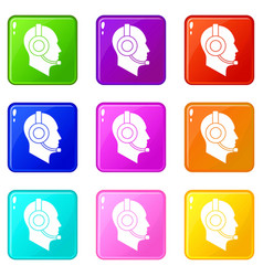 operator in headset set 9 vector image