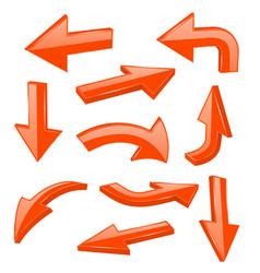 orange bold arrows 3d shiny signs vector image