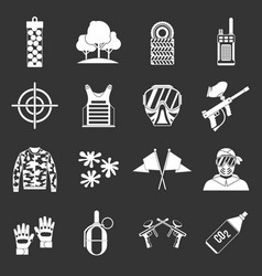 Paintball icons set grey vector
