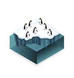 Penguins on ice in the open sea isometric concept vector