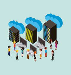 people cloud computing storage vector image
