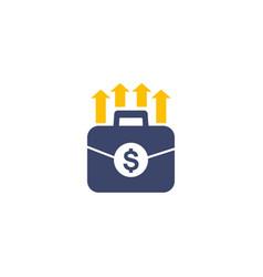 Portfolio growth icon on white vector