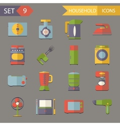 Retro Flat Household Icons and Symbols Set vector