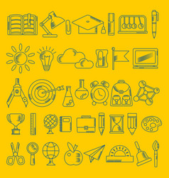 School supplies handdrawn icons on yellow vector