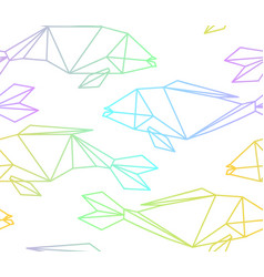 Seamless colorful linear abstract polygon fish vector