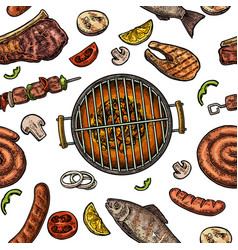 Seamless pattern barbecue grill top view charcoal vector