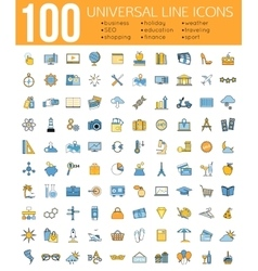 set 100 minimal universal line icons business vector image