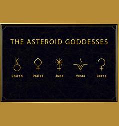 Set alchemical golden symbols asteroid vector