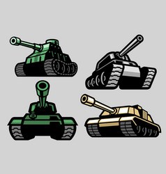 Set bundle military tank vector