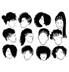 Set female afro hairstyles collection vector