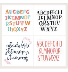 set hand drawn alphabets english alphabet vector image