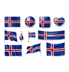 set iceland flags banners banners symbols flat vector image