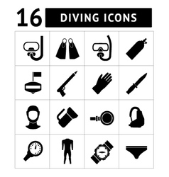set icons diving vector image