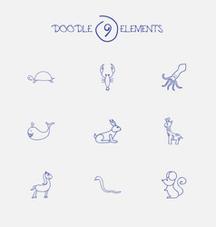 Set of 9 editable zoology doodles includes vector